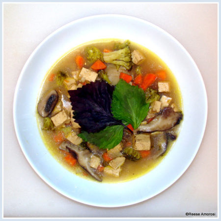 Glamorosi Cooks Tofu and Mushroom Soup with Shiso by Reese Amorosi